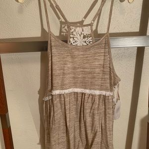 Tan tank top with lace